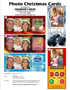 Christmas Card Info Sheet at Scrapper's Edge in Eureka, California