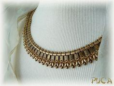 Netting with tila beads - beadwoven necklace