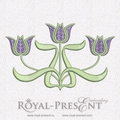 Free Machine Embroidery Design - Art Nouveau Tulips, $0.00