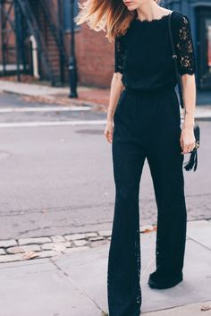DVF Lace Jumpsuit styled by Jess Kirby of Prosecco and Plaid