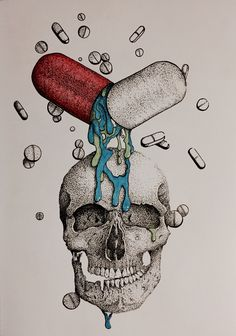 Dotwork, Skull, Illustration, Drawing, Art, Pills, Surreal, Pointillism, Contrast, SketchBook