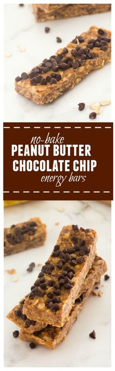 No Bake Peanut Butter Chocolate Chip Energy Bars are a delicious, satisfying snack you can make in minutes with only 5 ingredients!  @Flavorthemoment