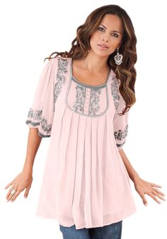 Plus Size Clothing - Fashion for Plus Size women at Roaman's - love the pink and gray together.