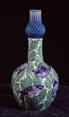 william de morgan blackbird bottle | JV