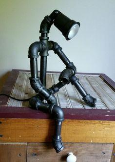 Robot Desk Lamp Industrial Cast Pipe Light Man Cave Garage Cool Gift for Dad! #MadeforYou #Modern