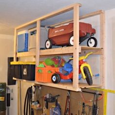 Reclaim garage floor space by storing seasonal items from ceiling mounted shelves. Follow this easy step-by-step tutorial.