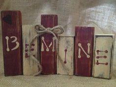 Primitive Valentine Be Mine Wood Shelf Sitter