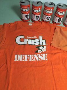 0c2165aa4 Vintage Denver Broncos Orange Crush 7 metal pop cans and 2 t-shirts