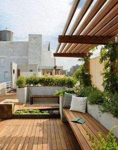 holzmöbel balkonpflanzen dachterrasse gestalten