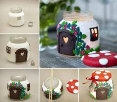 Mushroom House Candle Holder