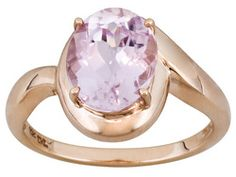 2.73ct Oval Brazilian Kunzite 10k Rose Gold Ring