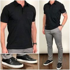 Trendy Ideas For Sneakers Outfit Men Casual Fashion Styles Chinos Men Outfit, Polo Shirt Outfits, Black Shirt Outfit Men, Black Sneakers Outfit, Chinos For Men, Polo Outfit, Converse Outfits, Black Polo Shirt, Green Sneakers
