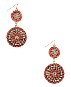 #Forever21 beaded disk earrings in gold/coral, $7.80