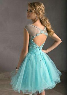 Short tiffany blue prom dress