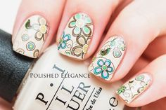 Pretty Floral Water Decals Nails by BornPrettyNails from Nail Art Gallery Chic Nail Art, Chic Nails, Easy Nail Art, Love Nails, Pretty Nails, My Nails, Nail Designs Spring, Nail Art Designs, Nagel Stamping