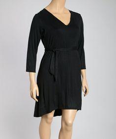Look at this #zulilyfind! Black Tie-Waist Long-Sleeve Dress - Plus #zulilyfinds