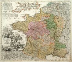 "Johann Baptist Homann - France - 1730. This well-engraved and highly detailed map of France has a large elaborate cartouche and 12 coats of arms of different provinces. Johann Baptist Homann (1663-1724) was a German engraver and publisher, who established himself and his family as perhaps the most famous German map publishers. Following his death, the business continued under the name ""Homann Heirs."""