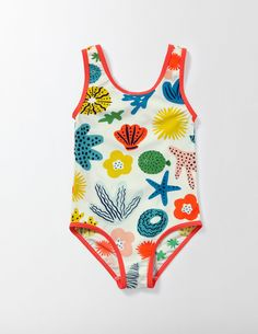 When it's finally time to head to the seaside (yay!) throw on this pretty swimsuit. The bright colours and fast-drying fabric make it just as essential as a bucket and spade. It even has UPF 50 sun protection to help keep your skin safe. Baby Swimming, Girls Swimming, Mini Boden, Outfits Niños, Kids Outfits, Pretty Swimsuits, Baby Swimsuit, Swimming Costume, Kids Swimwear