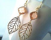 Autumn Leaves Peach Gold Earrings ,Drop, Dangle, Glass Earrings, bridesmaid gifts,Wedding jewelry