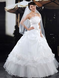 Dathybridal #ウェディングドレス #ボールガウン ベアトップ フロアー丈 レースアップ ノースリーブ ボウ オーガンザ アイボリー 結婚式 二次会 ドレス ウェディングドレス Hlbw0053