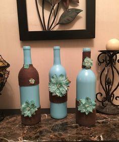 Set of 3 Painted Wine Bottle w Burlap Brown by LaurasDiscounts16