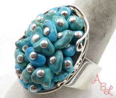 Product ID: 710159. Stones: Blue UNique Turquoise. Metal: 925 parts per 1000, Sterling Silver. Ring style: Set Stones. Profile: Ring. Ring size: 10.75. Natural Stones. Product Details. | eBay!