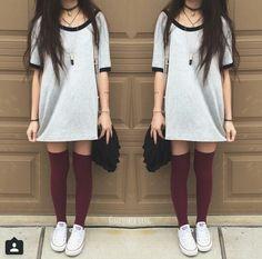 Tee-shirt dress with thigh high maroon socks and converse.
