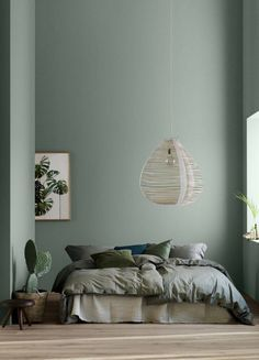Modern Earthy Home Decor: Soothing bohemian bedroom with soft pistachio green blue walls and rattan hanging lamp Bedroom Green, Bedroom Colors, Olive Green Bedrooms, Bedroom Mint, Olive Bedroom, Decor Room, Home Decor Bedroom, Bedroom Ideas, Bedroom Wall