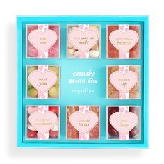 sugarfina Valentine's Day Candy Bento Box available at Cookie Packaging, Food Packaging, Packaging Design, Packaging Ideas, Jelly Bears, Gourmet Candy, Peach Bellini, Pretty Packaging, Candy Gifts