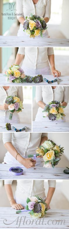Make your own succulent bouquet with a premade silk flower bouquet and faux succulents from Afloral.com.  Find a wide variety of high-quality faux stems and DIY tutorials at Afloral.com.