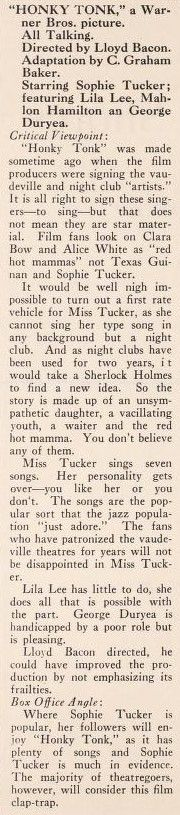 1929: Honky Tonk - Sophie Tucker and Lila Lee - The Film Mercury (July 26, 1929)