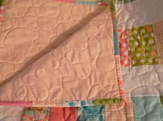 Baby Quilt  Stacked Coin Pattern  Pink Teal by sewcutebylindsay, $70.00