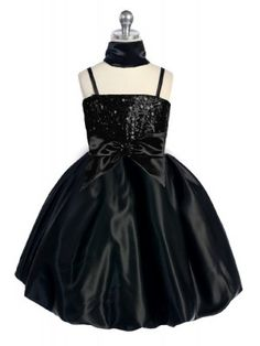Glittering bubble flower girl dress with sequins bodice and a large detachable bow accent on the waist.