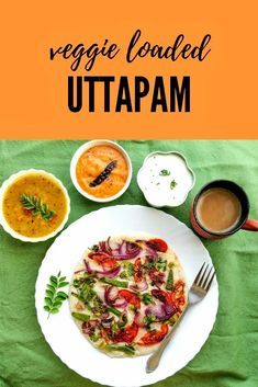 Uttapam recipe - #traditionalfood #southindian #breakfast made with fermented #dosa batter topped with vegetables Breakfast Restaurants, Breakfast Snacks, Breakfast For Kids, Breakfast Recipes, Indian Snacks, Indian Food Recipes, Ethnic Recipes, Uttapam Recipe, Tasty Vegetarian Recipes