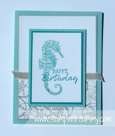 Seaside Notions, Magnolia Lane Ribbon Combo, Stampin' Up!, Stamp with Tammy Birthday Cards For Men, Male Birthday, Nautical Cards, Beach Cards, Stamping Up Cards, Masculine Cards, Creative Cards, Cool Cards, Homemade Cards