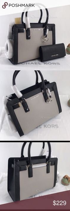 09fbdbe938af NWT Michael Kors Dillon Satchel And Wallet Beautiful set! Black and gray  color with silver