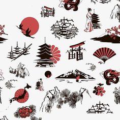 Simbolos Tattoo 83503 Vecteur : seamless background with Japanese miniatures Japan Tattoo, Asia Tattoo, Simbolos Tattoo, Tattoo Moon, Tattoo Forearm, Lion Tattoo, Tattoo Fonts, Japanese Tattoo Symbols, Japanese Tattoo Designs