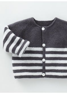 Knitwear Designs for Lovely Babies English Tutorials by LittleFrenchKnits Baby Sweater Knitting Pattern, Baby Boy Knitting, Knit Baby Sweaters, Knitting For Kids, Baby Knitting Patterns, Baby Patterns, Tricot Baby, Pull Bebe, Striped Jacket