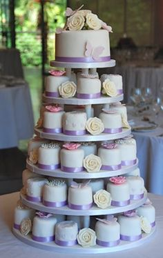 Lilac butterfly and rose mini cakes wedding cake #wedding #cake  www.loveitsomuch.com