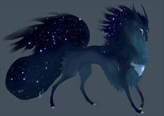 Galaxy wolf Cute fantasy creatures Mythical creatures Mythical animal