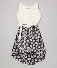 Take a look at the Black & White Daisy Lace Hi-low Dress - Girls on #zulily today!