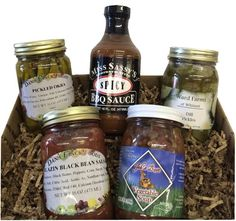 Looking for authentic Carolina produce while far away? look no further than this package with pickled okra, spicy BBQ sauce, dill pickles, blazing black bean salsa and vegetable soup.