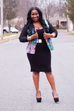 I love that jacket with that dress. It adds a pop of color and it's classy.