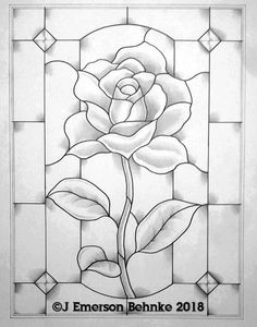 Rose (Student pattern ,a pattern for stained glass. Builds to 15 × Customers will receive two full size black and white copies via USPS. Glass Painting Patterns, Stained Glass Patterns Free, Glass Painting Designs, Free Mosaic Patterns, Stained Glass Designs, Rose Patterns, Stained Glass Paint, Stained Glass Flowers, Stained Glass Crafts