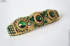 Купить Заколка с кристаллами сваровски Green and gold - заколка для волос, заколка, заколка-автомат
