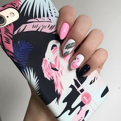 The Boy from the Woods - pink Flamingo nails;pinapple and flamingo nails; Flamingos spring summer nail ar… You are in the r - Gel Manicure, Diy Nails, Manicures, Cute Nails, French Manicure, Acrylic Nail Designs, Acrylic Nails, Nail Art Designs, Nails Design