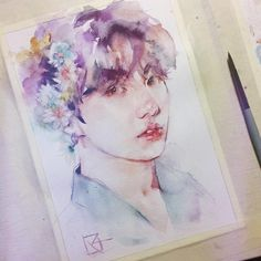 Jungkook Fanart, Kpop Fanart, Inspiration Art, Art Inspo, Bts Art, Kpop Drawings, Watercolor Drawing, Aesthetic Art, Art Sketches