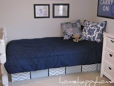 under bed boxes, love the chevron!  A Thoughtful Place: Keep C.A.L.M. and Organize On {Features}