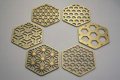 Hive Coaster Set - #COZODesign #sacredgeometry #islamicart #hexagon #geometricart