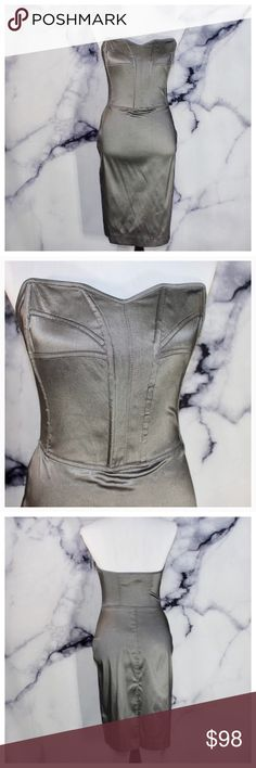 Cavalli Jeans by Roberto Cavalli Corseted Pencil Gorgeous Metallic chrome. Beautifully structured. Thinly boned bodice. Size zip up. Size 42 Italy. Made in Italy. US 4-6. Comment below for additional info or measurements. We are fast to respond! Ships same day M-SAT Cavalli Jeans  Dresses Strapless